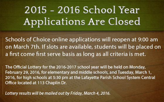 Check lottery results from your parent dashboard. Logon using your username and password.